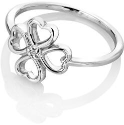 Ezüst négylevelű lóhere gyűrű gyémánttal a Lucky in Love DR215-ben