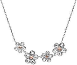 Stříbrný květinový náhrdelník s diamantem Forget me not DN140