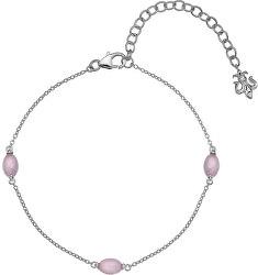 Stříbrný náramek pro narozené v říjnu Anais růžový křemen AB010