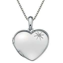 Stříbrný náhrdelník Hot Diamonds Memoirs Heart Locket DP495 (řetízek, přívěsek)