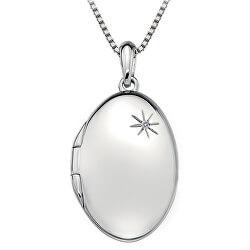 Stříbrný náhrdelník Hot Diamonds Memoirs Oval Locket DP493 (řetízek, přívěsek)