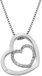 Strieborný srdiečkový náhrdelník Adorable Encased DP691 (retiazka, prívesok)