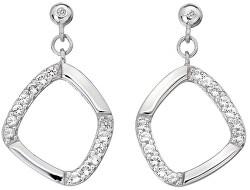 Třpytivé stříbrné náušnice s diamanty Behold DE646