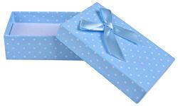 Světle modrá puntíkatá krabička na soupravu šperků KK-6/A13