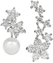 Asymetrické náušnice - dvojitá náušnice s pravou bílou perlou a podélná náušnice se zirkony JL0260