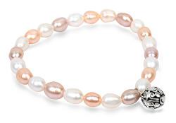 Jemný náramek z pravých perel s kovovou ozdobou JL0294