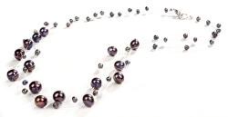 Náhrdelník z levitujících tmavých pravých perel JL0325