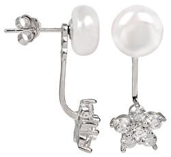 Stříbrné dvojnáušnice s pravou bílou perlou a zirkonovou kytičkou 2v1 JL0281