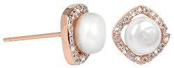 Stříbrné rosegold náušnice s pravou bílou perlou a krystaly JL0252