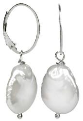 Strieborné náušnice s pravou bielou perlou JL0154