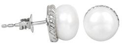 Stříbrné náušnice s pravou bílou perlou JL0185