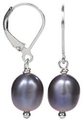 Strieborné náušnice s pravou kovovo modrou perlou JL0147