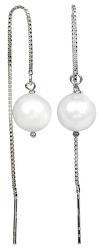 Strieborné retiazkové náušnice s bielou perlou JL0204