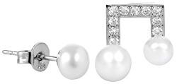 Asymetrické perlové náušnice se zirkony JL0415