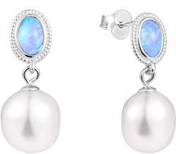 Luxusné náušnice s pravou barokovou perlou a syntetickým opálom JL0583