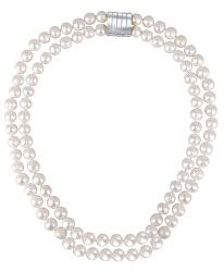 Dvojitý náhrdelník z pravých bílých perel JL0656