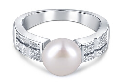 Elegantní prsten s pravou perlou a zirkony JL0646