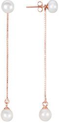 Dlouhé stříbrné náušnice 2v1 s pravými perlami JL0451