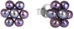 Kytičkové náušnice z pravých kovově modrých perel JL0580