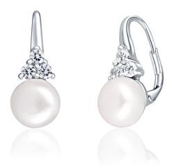 Luxusné strieborné náušnice s pravou perlou a zirkónmi JL0641