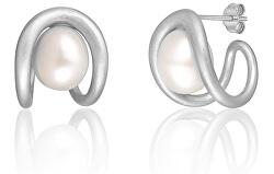 Divatos ezüst fülbevalók valódi gyönggyel JL0651
