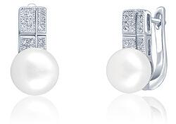 Nádherné náušnice s pravou perlou a zirkónmi JL0644