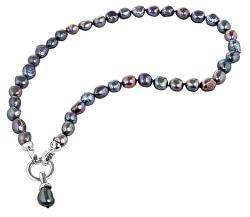 Náhrdelník z pravých kovově modrých perel JL0561