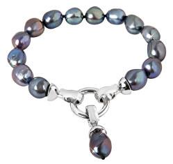 Náramek z pravých kovově modrých perel JL0562
