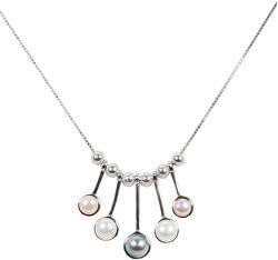 Nežný strieborný náhrdelník s pravými perličkami JL0459 (retiazka, prívesok)
