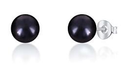 Peckové náušnice z pravých černých perel JL0707