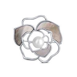 Perlová brož 2v1 s pravou bílou perlou a perletí JL0627