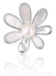 Perlová brož 2v1 s pravou bílou perlou a perletí JL0660