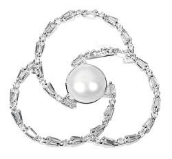 Perlová brož trojlístek s krystaly JL0519