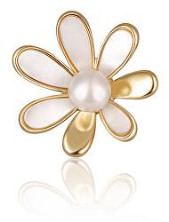 Pozlacená brož 2v1 s pravou bílou perlou a perletí JL0661