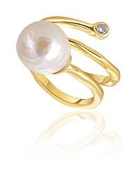Aranyozott gyűrű valódi gyönggyel és cirkónium kövekkel JL0692