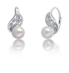 Pôvabné strieborné náušnice s pravou bielou perlou JL0706