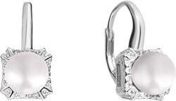Stříbrné náušnice s bílou perlou a zirkony JL0594
