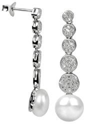 Stříbrné náušnice s pravou perlou a zirkony JL0337