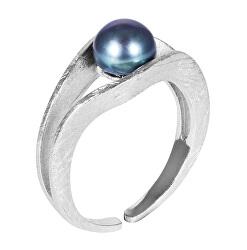 Stříbrný prsten s modrou perlou JL0541