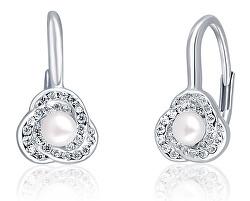 Úchvatné strieborné náušnice s perlou a zirkónmi JL0642