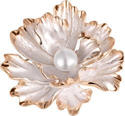Unikátní brož květ 2v1 s pravou perlou JL0573