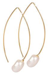 Pozlátené náušnice s pravou perlou JL0409