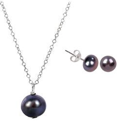 Zvýhodněná perlová souprava šperků Jl0028 a JL0086 (náušnice, náhrdelník)