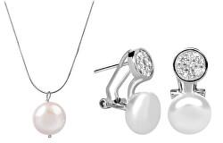 Zvýhodněná perlová souprava šperků JL00404 a JL0393 (náušnice, náhrdelník)