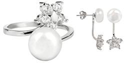 Zvýhodněná perlová souprava šperků JL0281 a JL0322 (náušnice, prsten)