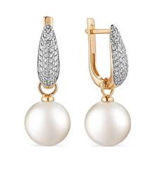 Bronzové náušnice s pravými perlami a zirkónmi SVLE1039XH2PR00