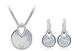 Elegantná sada šperkov s perleťou (náušnice, prívesok)
