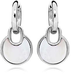 Elegantné strieborné náušnice kruhy s perleťovými prívesky SVLE0347SH8PL00