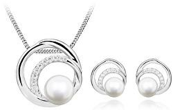 Elegantní zvýhodněná sada s perlami a zirkony (náušnice, přívěsek)