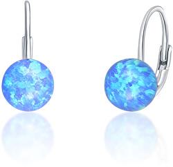 Jemné stříbrné náušnice s modrými syntetickými opály SVLE0783XF6O300